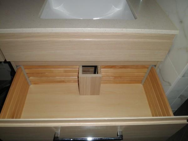 Ikea Schreibtisch Im Schrank ~ fini  ikea cabs,curbless shower,porcelain plank floor,fake marbl